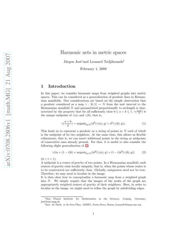 J. Jost - Harmonic nets in metric spaces