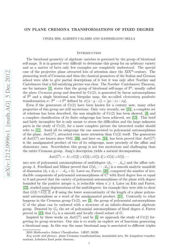 Cinzia Bisi - On plane Cremona transformations of fixed degree