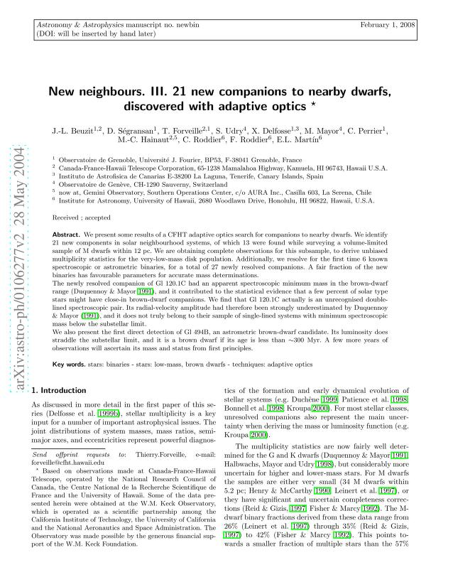 J. -L. Beuzit - New neighbours. III. 21 new companions to nearby dwarfs, discovered with adaptive optics