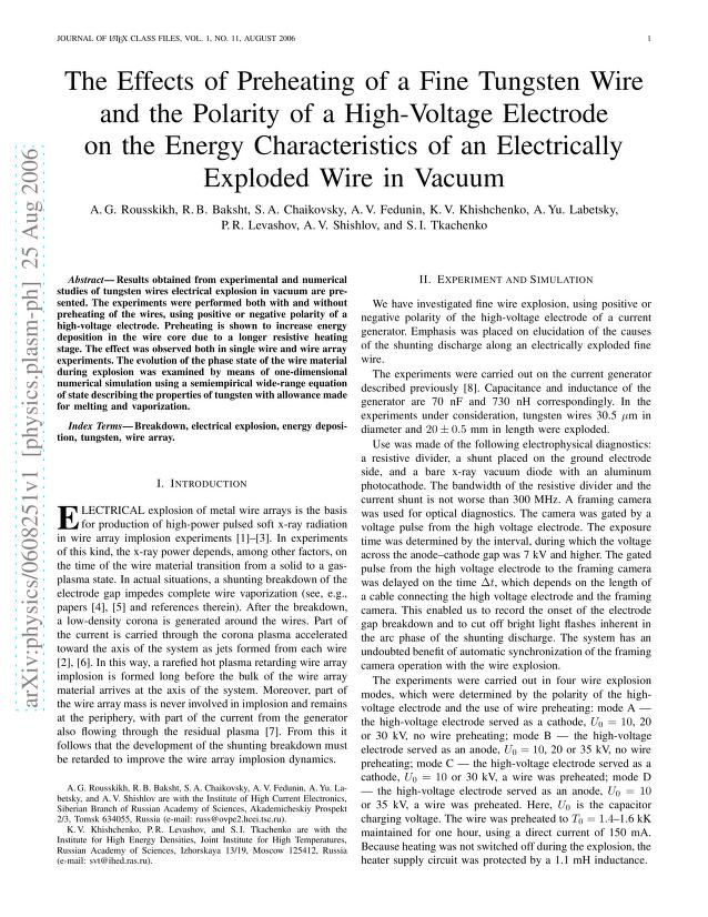 A. G. Rousskikh - The Effects of Preheating of a Fine Tungsten Wire and the Polarity of a High-Voltage Electrode on the Energy Characteristics of an Electrically Exploded Wire in Vacuum