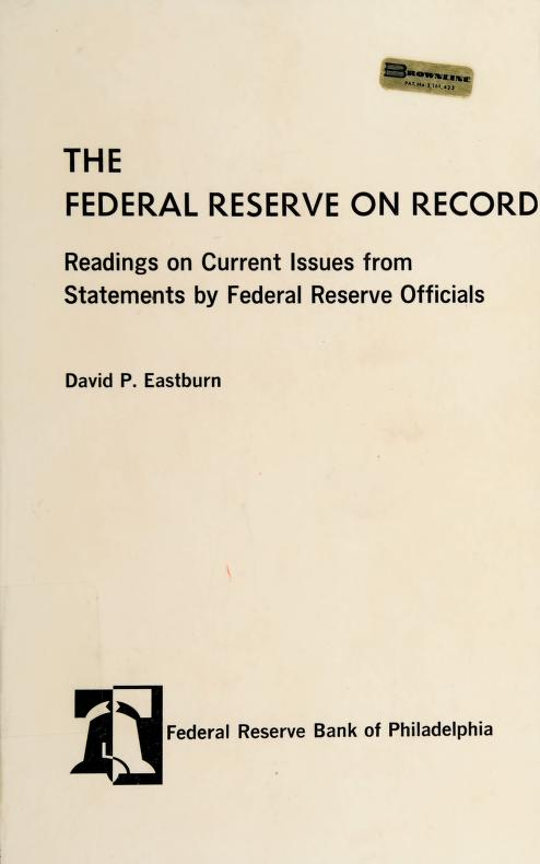 The Federal Reserve on record by Board of Governors of the Federal Reserve System (U.S.)