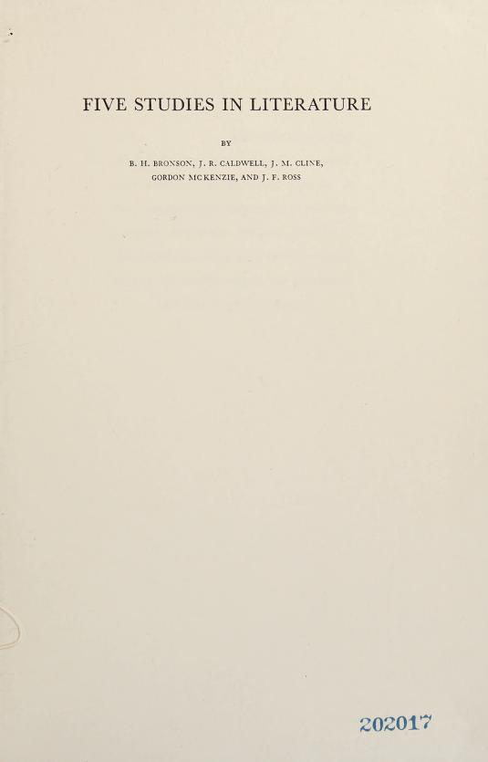 Five studies in literature by by B. H. Bronson [and others.