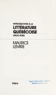 Cover of: Introduction à la littérature québécoise, 1900-1939 | Maurice Lemire