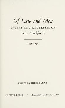 Cover of: Of law and men | Felix Frankfurter